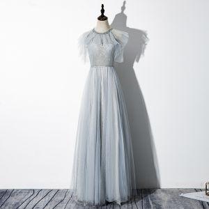 Uroczy Szary Sukienki Wieczorowe 2020 Princessa Wycięciem Frezowanie Cekiny Kótkie Rękawy Bez Pleców Długie Sukienki Wizytowe