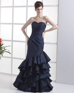 Taffeta Organza Strapless Floor-Length Celebrity Prom Dresses