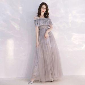 Chic / Belle Gris Robe De Soirée 2019 Princesse Bretelles Spaghetti Manches Courtes Perlage Glitter Tulle Longue Volants Dos Nu Robe De Ceremonie