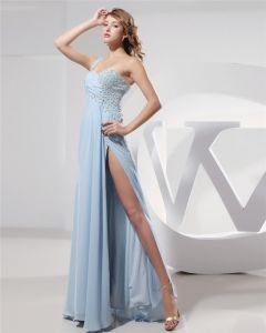 Sweetheart Beading Pleated Floor Length Chiffon Woman Prom Dress