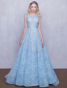 Beautiful Evening Dresses 2016 Scoop Neck Applique Lace Sky Blue Tulle Long Dress