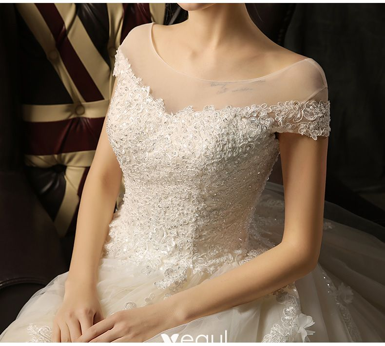 Chic / Beautiful Wedding Dresses 2017 Beading Lace Appliques Backless Square Neckline Short Sleeve Church Ball Gown Cathedral Train