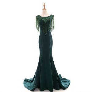 Mode Dunkelgrün Durchsichtige Abendkleider 2018 Mermaid Rundhalsausschnitt Ärmellos Perlenstickerei Kristall Quaste Hof-Schleppe Rüschen Festliche Kleider