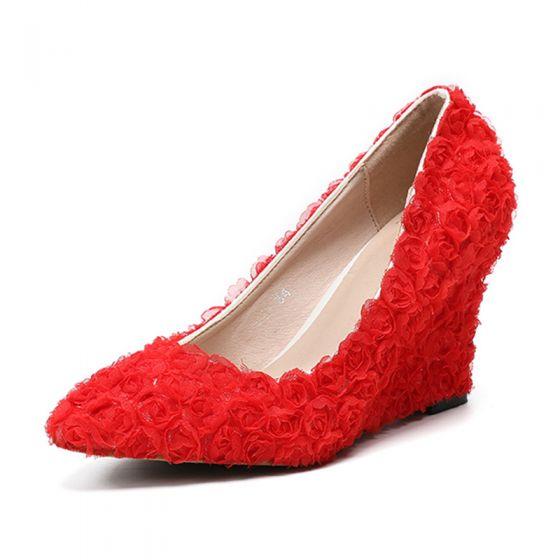 Hermoso Rojo Gala Zapatos De Mujer 2020 Apliques 8 cm Punta Estrecha De Cuña
