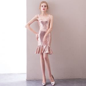 Sparkly Gold Party Dresses 2018 Trumpet / Mermaid Sequins Bow Spaghetti Straps Backless Sleeveless Short Formal Dresses