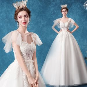Chic / Beautiful Ivory Wedding Dresses 2020 Ball Gown Square Neckline Bow Lace Flower Short Sleeve Backless Court Train