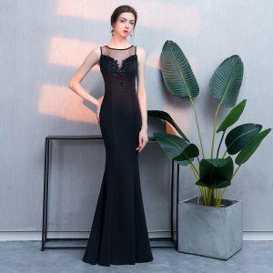 Mode Schwarz Abendkleider 2019 Meerjungfrau Spitze Perlenstickerei Pailletten Rundhalsausschnitt Ärmellos Lange Festliche Kleider