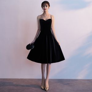 Affordable Black Homecoming Graduation Dresses 2020 A-Line / Princess Square Neckline Puffy Short Sleeve Knee-Length Ruffle Backless Formal Dresses