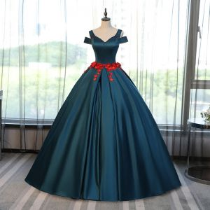 Chic / Beautiful Ink Blue Prom Dresses 2017 Ball Gown V-Neck Short Sleeve Appliques Flower Rhinestone Floor-Length / Long Ruffle Backless Formal Dresses