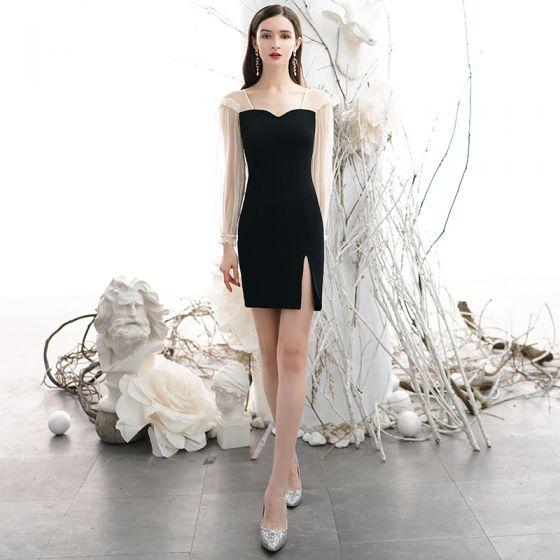 Sexy Black Party Dresses 2020 Square Neckline Long Sleeve Backless Short Formal Dresses