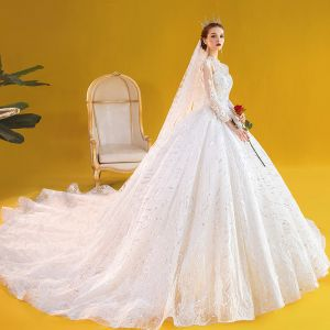 Vintage / Retro Ivory See-through Wedding Dresses 2020 Ball Gown High Neck 3/4 Sleeve Backless Glitter Tulle Appliques Lace Beading Pearl Royal Train Ruffle