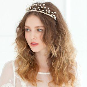 Zweigform Krone Perle Kopfschmuck / Goldenen Luxus Vintage Braut Haarschmuck