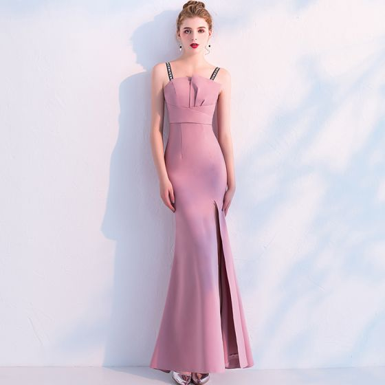 Chic / Beautiful Candy Pink Evening Dresses  2019 Trumpet / Mermaid Spaghetti Straps Sleeveless Backless Split Front Ankle Length Formal Dresses