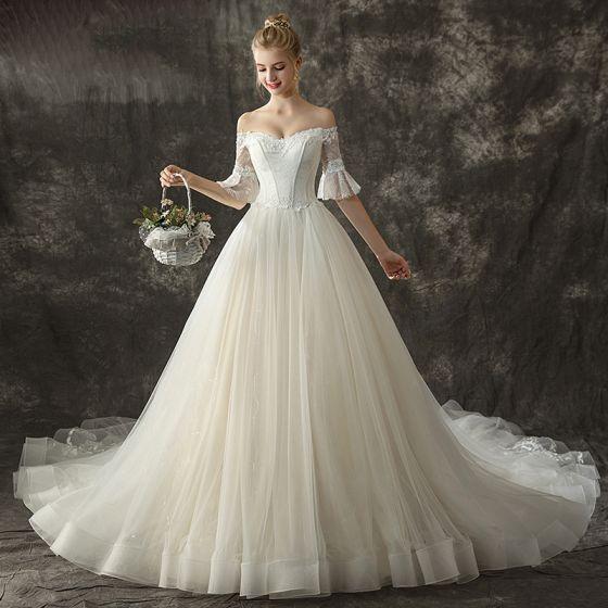 Schone Champagner Brautkleider Hochzeitskleider 2018 Ballkleid Off