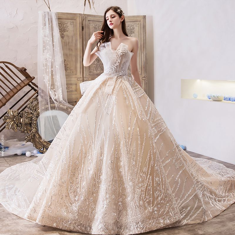 Bling Bling Champagne Wedding Dresses 2019 A-Line / Princess Amazing / Unique Sweetheart Sleeveless Backless Glitter Tulle Royal Train Ruffle