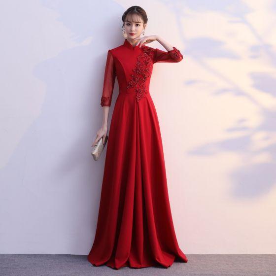 Elegancka Burgund Sukienki Wieczorowe 2019 Princessa Wysokiej Szyi Kokarda Z Koronki Kwiat 1/2 Rękawy Długie Sukienki Wizytowe