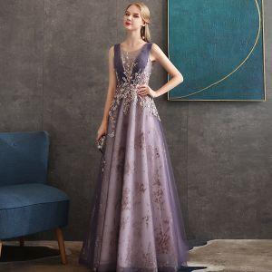 Illusion Traube Durchsichtige Abendkleider 2020 A Linie Rundhalsausschnitt Ärmellos Pailletten Perlenstickerei Lange Rüschen Festliche Kleider