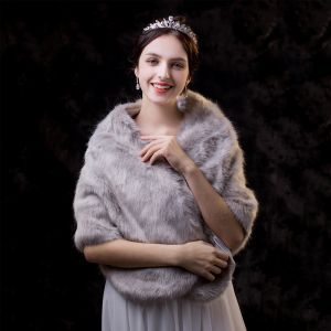 Luxury / Gorgeous Grey shawl 2020 Striped Polyester Shoulders Wedding Evening Party Prom Winter Accessories