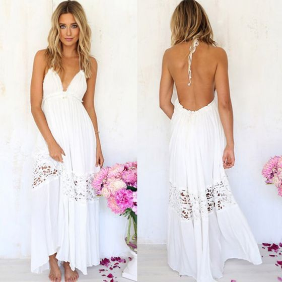 Sexy Beach Summer Ivory Chiffon Maxi Dresses 2018 Halter Sleeveless Ankle Length Backless Womens Clothing