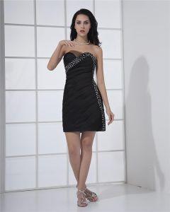 Falbany Frezowanie Satyna Tafty Kochanie Bez Rekawow Tanie Sukienki Koktajlowe Sukienki Wizytowe