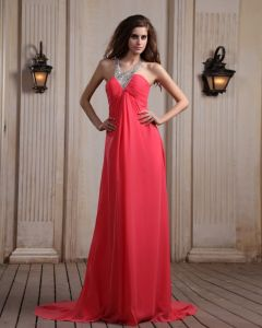 Sleeveless Chiffon Beading Halter Chapel Train Evening Dresses