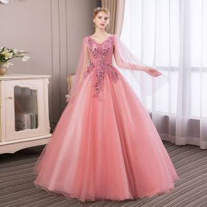Affordable Candy Pink Prom Dresses 2018 Ball Gown Lace Flower Appliques Pearl Rhinestone V-Neck Backless Long Sleeve Floor-Length / Long Formal Dresses