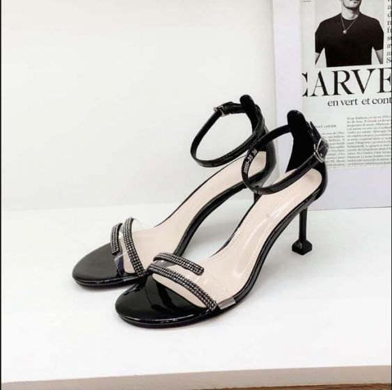 Asequible Negro Casual Sandalias De Mujer 2019 Correa Del Tobillo Rhinestone 7 cm Stilettos / Tacones De Aguja Peep Toe Sandalias