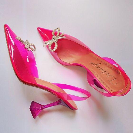 Transparent Fushia Désinvolte Sandales Femme 2020 Faux Diamant 8 cm Talons Aiguilles À Bout Pointu Escarpins