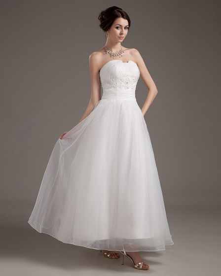 Satin Organza Bead Mini Wedding Dresses