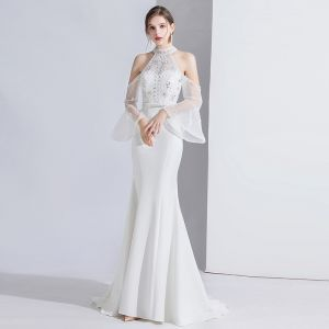 Fashion White Evening Dresses  2020 Trumpet / Mermaid Beading Rhinestone Sequins Lace Flower High Neck Bell sleeves Sweep Train Formal Dresses