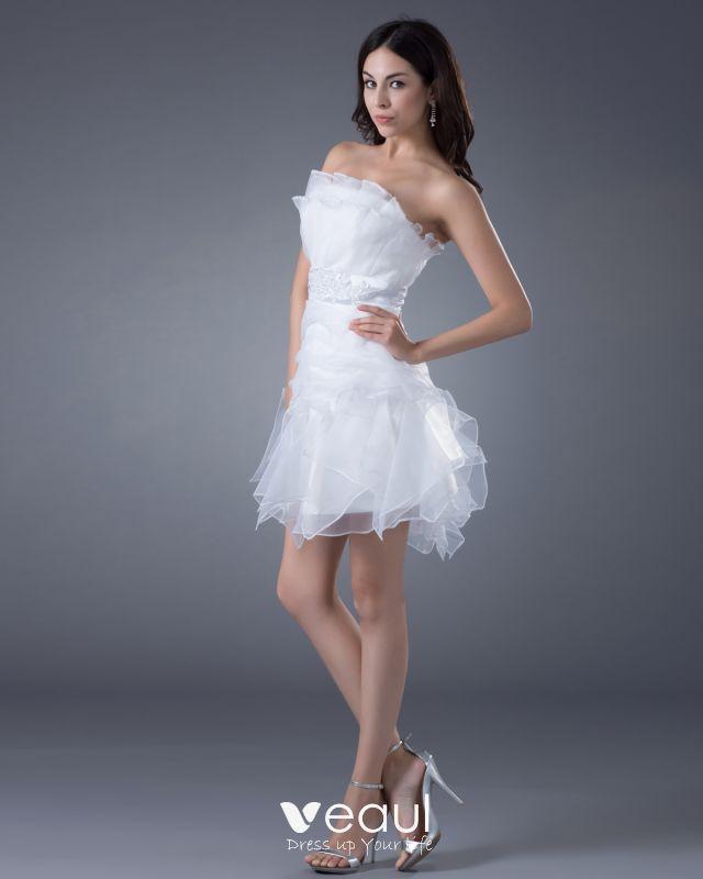 Garn Schärpe Trägerloses Kurzes Hochzeitskleid Brautkleider