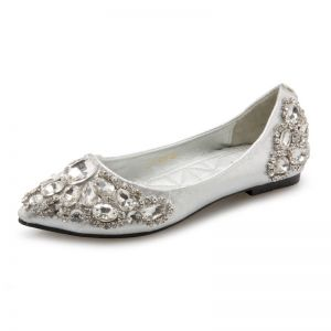 Glitter Zilveren Bruidsschoenen 2018 Rhinestone Spitse Neus Plat Huwelijk