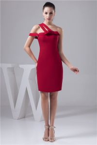2015 Charming Red Cocktail Dress One Shoulder Sheath Party Dress