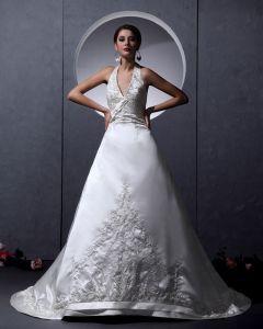 Charmeuse Chiffon Rüschen Applique Schatz Kapelle A-linie Hochzeitskleid Brautkleider