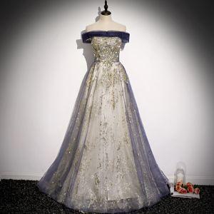 Mode Violet Doré Glitter Robe De Soirée 2020 Princesse De l'épaule Perlage Faux Diamant Perle Paillettes Sans Manches Dos Nu Longue Robe De Ceremonie