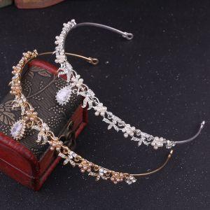 Modest / Simple Pearl Rhinestone Tiara Bridal Hair Accessories 2020 Alloy Wedding Accessories