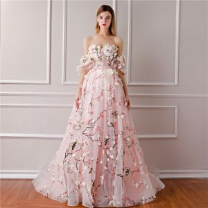 Flower Fairy Blushing Pink Prom Dresses 2019 A-Line / Princess Sweetheart Puffy Short Sleeve Sash Appliques Flower Court Train Backless Ruffle Formal Dresses