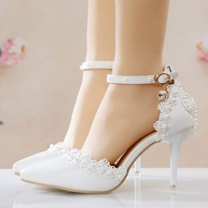 Modern / Fashion White Wedding Shoes 2018 Ankle Strap Pearl Bow 9 cm Stiletto Heels Pointed Toe Wedding Pumps