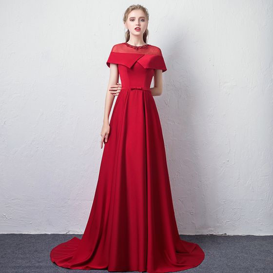 Piękne Burgund Przezroczyste Sukienki Wieczorowe 2019 Princessa Wycięciem Kótkie Rękawy Rhinestone Kokarda Szarfa Trenem Sweep Wzburzyć Bez Pleców Sukienki Wizytowe