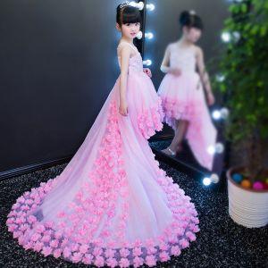 Chic / Belle Rose Bonbon Transparentes Robe Ceremonie Fille 2018 Princesse Encolure Dégagée Sans Manches Paillettes Appliques Fleur Asymétrique Volants Robe Pour Mariage