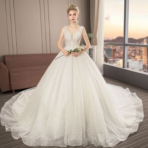 Illusion Ivory Wedding Dresses 2019 A-Line / Princess V-Neck Sleeveless Backless Beading Cathedral Train Ruffle