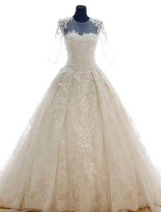 2015 Schultern U-ausschnitt Appliques-spitze Konigliche Brautkleider