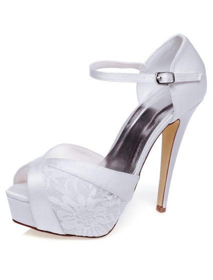 e88929b1a200 Beautiful Wedding Sandals With Ankle Strap Stiletto Heels Lace Bridal ...