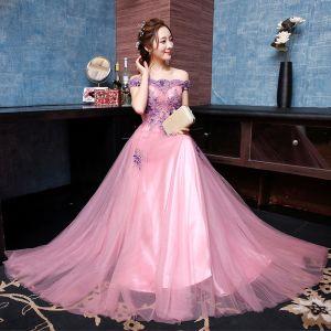 Chic / Belle Rougissant Rose Bordeaux Robe De Soirée 2017 Princesse Dentelle Appliques Brodé Fleur Bustier Soirée Robe De Ceremonie