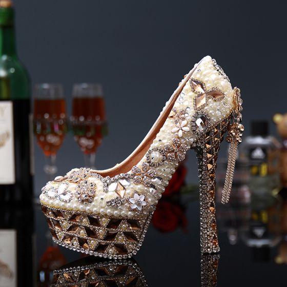 Oszałamiający Luksusowe Perła Rhinestone Buty Ślubne 2020 Skórzany Wodoodporne 14 cm Szpilki Okrągłe Toe Ślub Czółenka