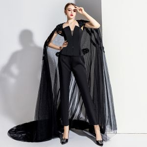 Charming Black Evening Dresses  Jumpsuit With Cloak 2020 Strapless Sleeveless Backless Court Train Formal Dresses