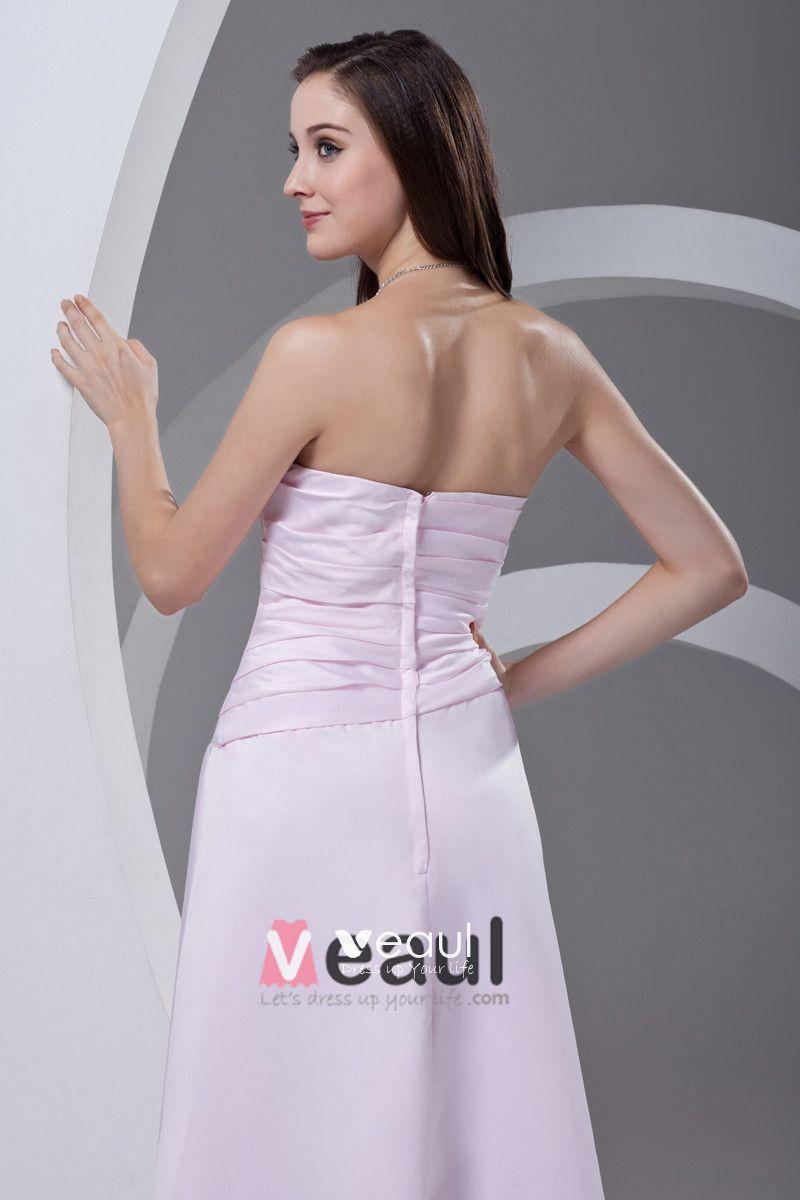Strapless Floor Length Pleated Satin Woman Bridesmaid Dress