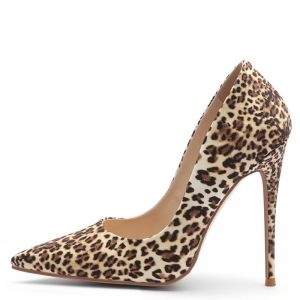 Chic / Beautiful Brown Street Wear Leopard Print Pumps 2020 12 cm Stiletto Heels Pointed Toe Pumps