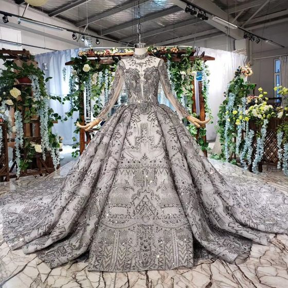 Amazing / Unique Black Ball Gown Wedding Dresses 2020 Long Sleeve Scoop Neck Crossed Straps Handmade  Backless Beading Crystal Rhinestone Sequins Cathedral Train Wedding
