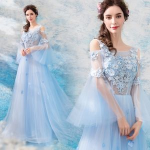 Illusion Sky Blue See-through Evening Dresses  2019 A-Line / Princess Scoop Neck Bell sleeves Appliques Lace Rhinestone Court Train Ruffle Backless Formal Dresses